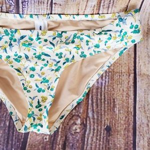J. Crew XS Floral Bikini Bottoms Button 50s Pin up